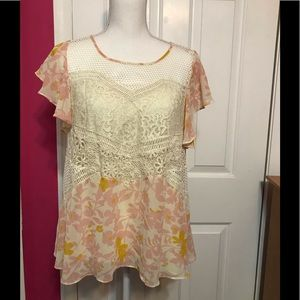EUC Anthropologie HD in Paris Crochet and Lace Top